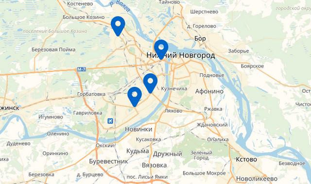 Карта офисов Быстроденьги в Нижнем Новгороде