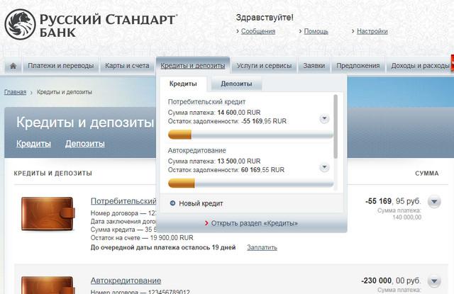 Фото личного кабинета банка Русский стандарт
