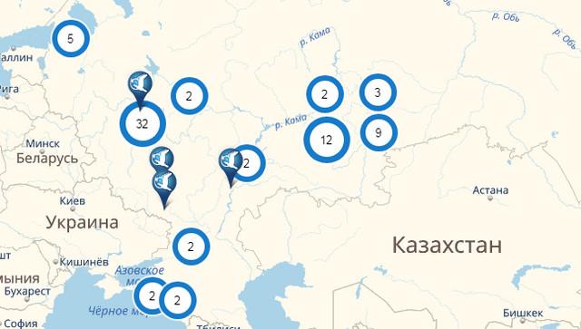 Карта адресов офисов СМП банка
