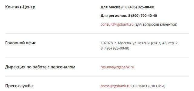 Служба поддержки и телефоны банка Росгосстрах