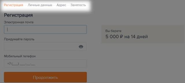 Форма заполнения заявки на займ в Езаем