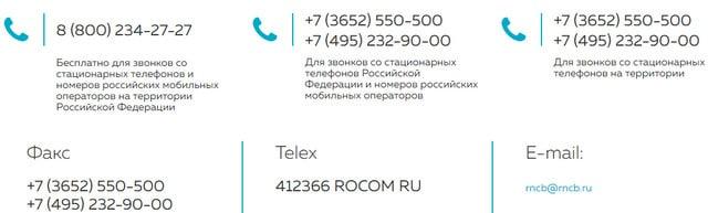 Телефоны горячей линии банка РНКБ