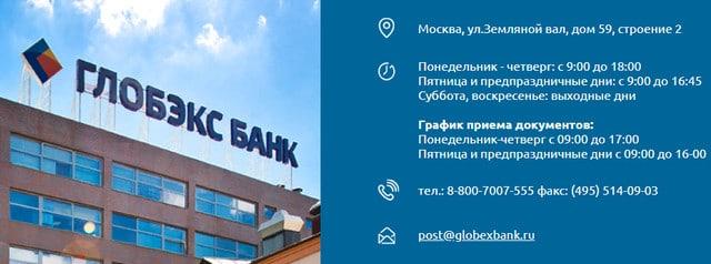 Контактные данные банка Глобэкс