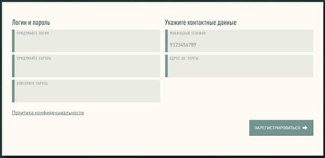 Форма заполнения данных при регистрации на сайте Быстробанка