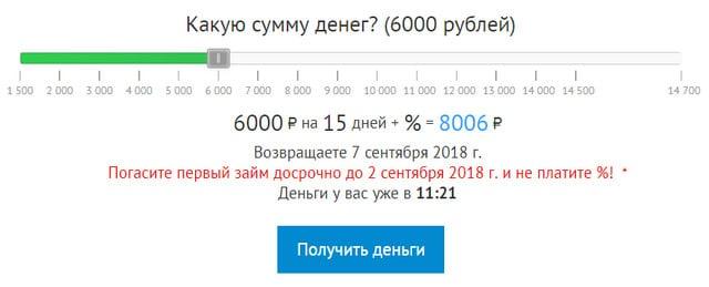 Калькулятор займа в Веб займ