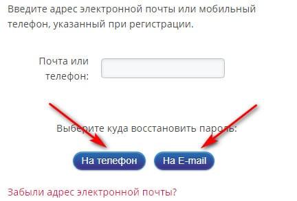 Форма восстановления пароля на сайте Мани Фанни