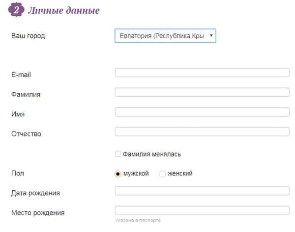 Форма ввода данных при оформлении займа на сайте Русские деньги