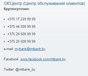 Телефоны МТБанка