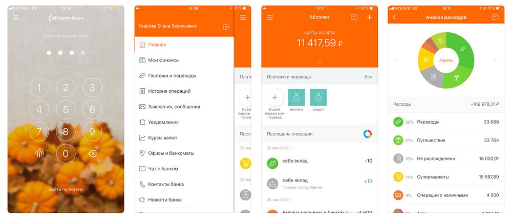 Мобильное приложение Абсолют банка